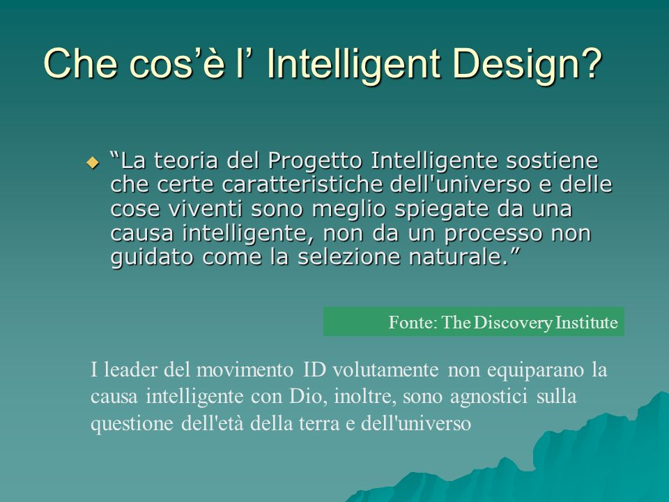 Che cos'è l' Intelligent Design