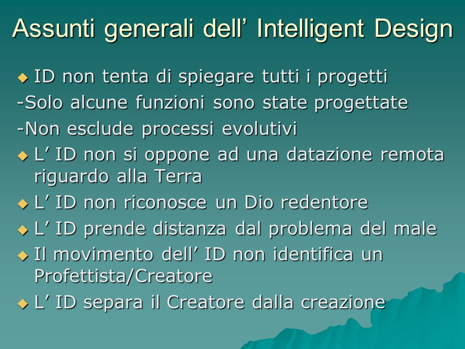 Assunti generali dell' Intelligent Design