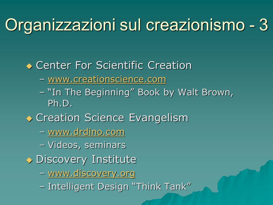 Organizzazioni sul creazionismo - 3