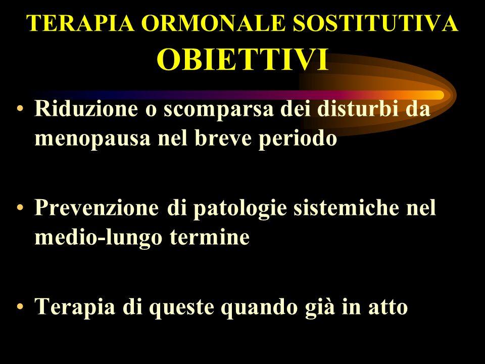 TERAPIA ORMONALE SOSTITUTIVA OBIETTIVI