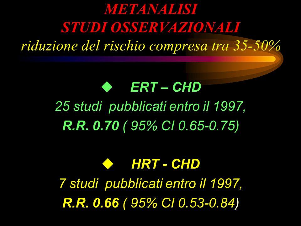 METANALISI STUDI OSSERVAZIONALI riduzione del rischio compresa tra 35-50%