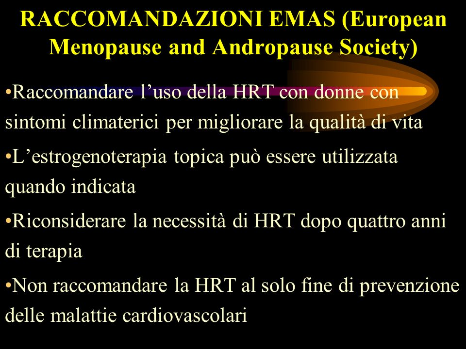 RACCOMANDAZIONI EMAS (European Menopause and Andropause Society)
