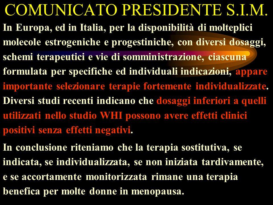 COMUNICATO PRESIDENTE S.I.M.