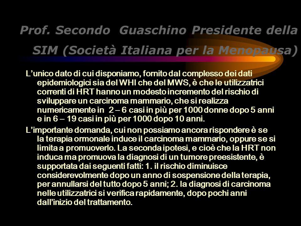 Prof. Secondo Guaschino Presidente della SIM (Società Italiana per la Menopausa)