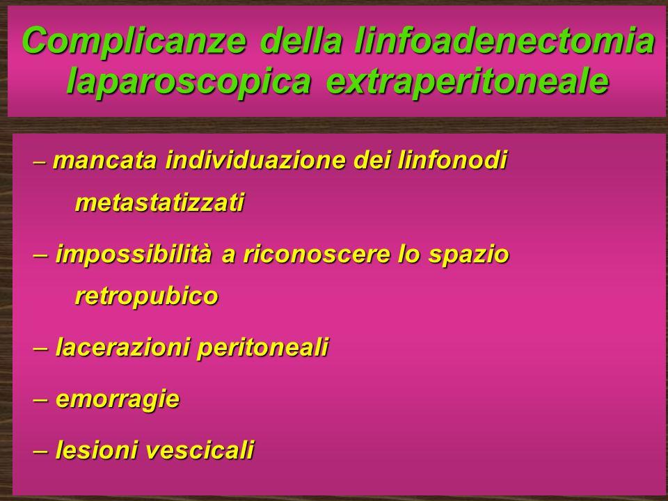 Complicanze della linfoadenectomia laparoscopica extraperitoneale