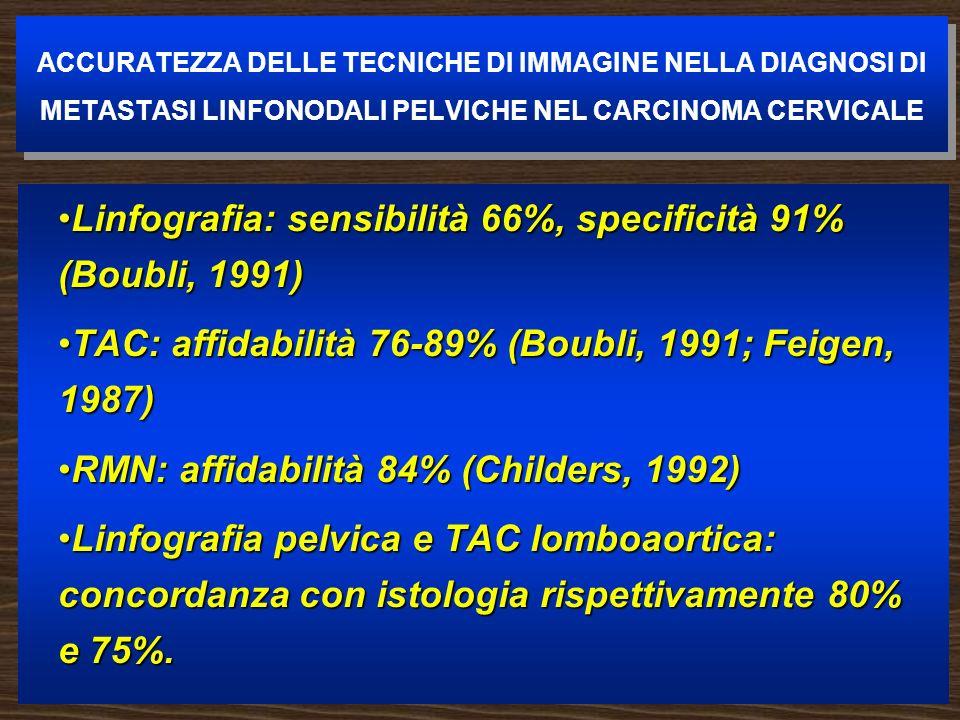 Linfografia: sensibilità 66%, specificità 91% (Boubli, 1991)