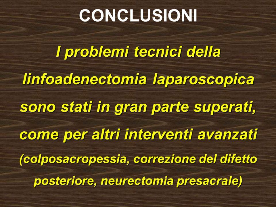 CONCLUSIONI I problemi tecnici della linfoadenectomia laparoscopica sono stati in gran parte superati, come per altri interventi avanzati.