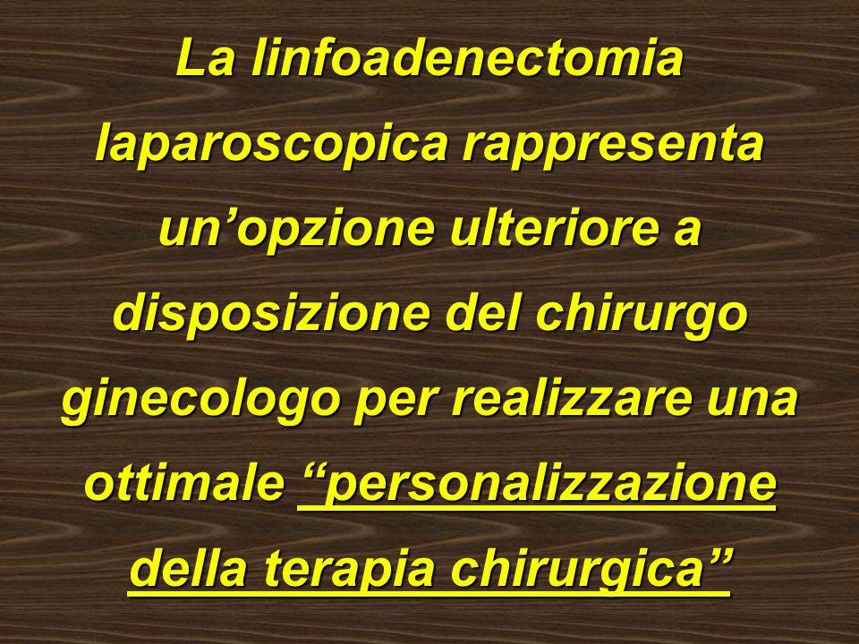 La linfoadenectomia laparoscopica rappresenta un'opzione ulteriore a disposizione del chirurgo ginecologo per realizzare una ottimale personalizzazione della terapia chirurgica