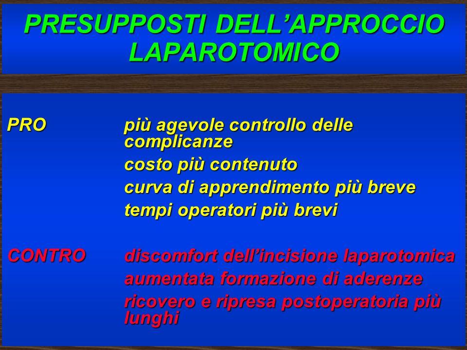 PRESUPPOSTI DELL'APPROCCIO LAPAROTOMICO