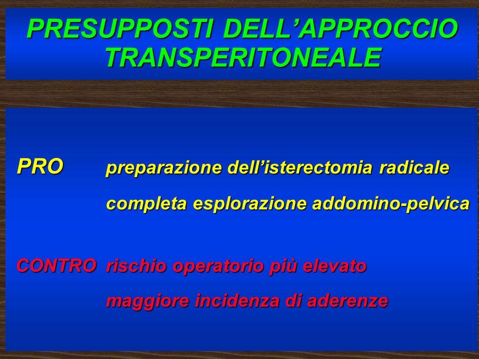 PRESUPPOSTI DELL'APPROCCIO TRANSPERITONEALE