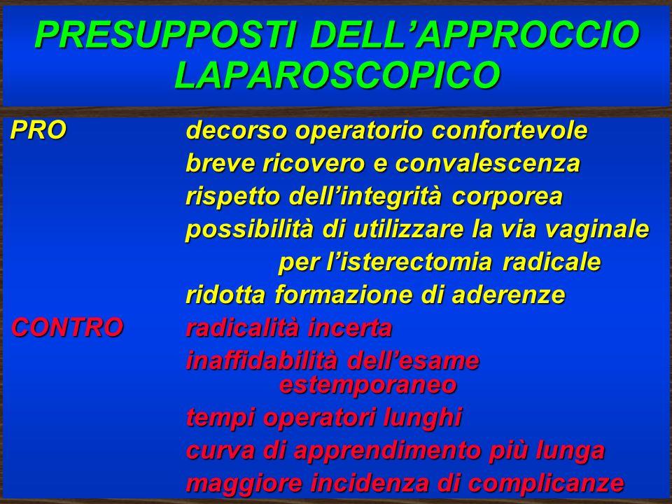 PRESUPPOSTI DELL'APPROCCIO LAPAROSCOPICO