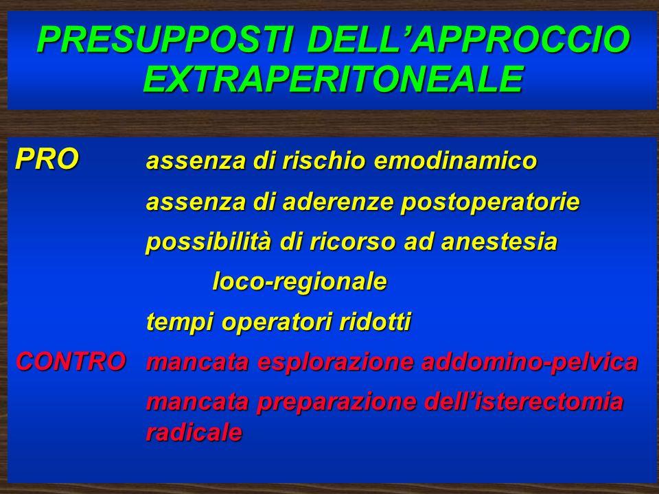 PRESUPPOSTI DELL'APPROCCIO EXTRAPERITONEALE