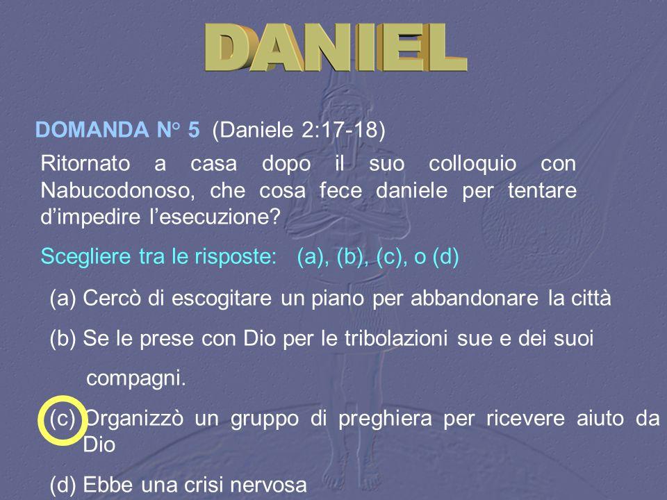 DOMANDA N° 5 (Daniele 2:17-18)