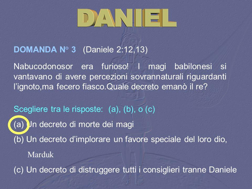 DOMANDA N° 3 (Daniele 2:12,13)
