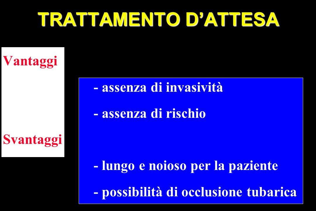 TRATTAMENTO D'ATTESA Vantaggi - assenza di invasività