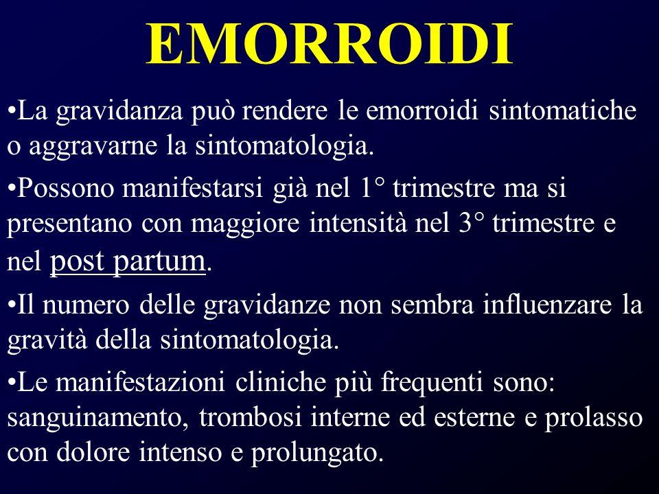 EMORROIDI La gravidanza può rendere le emorroidi sintomatiche o aggravarne la sintomatologia.