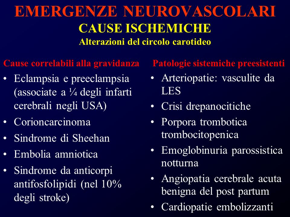 EMERGENZE NEUROVASCOLARI CAUSE ISCHEMICHE Alterazioni del circolo carotideo