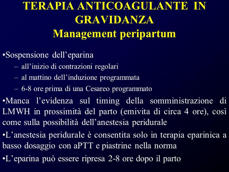 TERAPIA ANTICOAGULANTE IN GRAVIDANZA Management peripartum