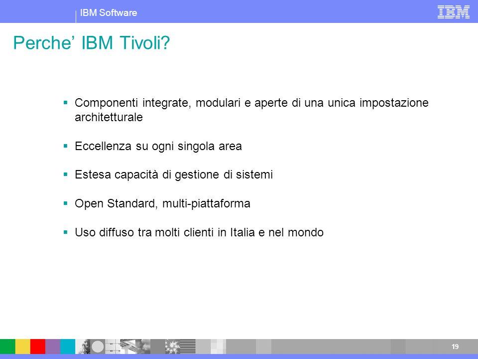 Perche' IBM Tivoli Componenti integrate, modulari e aperte di una unica impostazione architetturale.