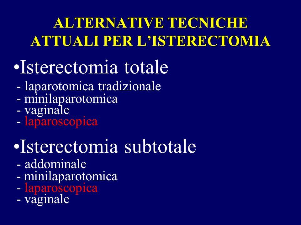 ALTERNATIVE TECNICHE ATTUALI PER L'ISTERECTOMIA