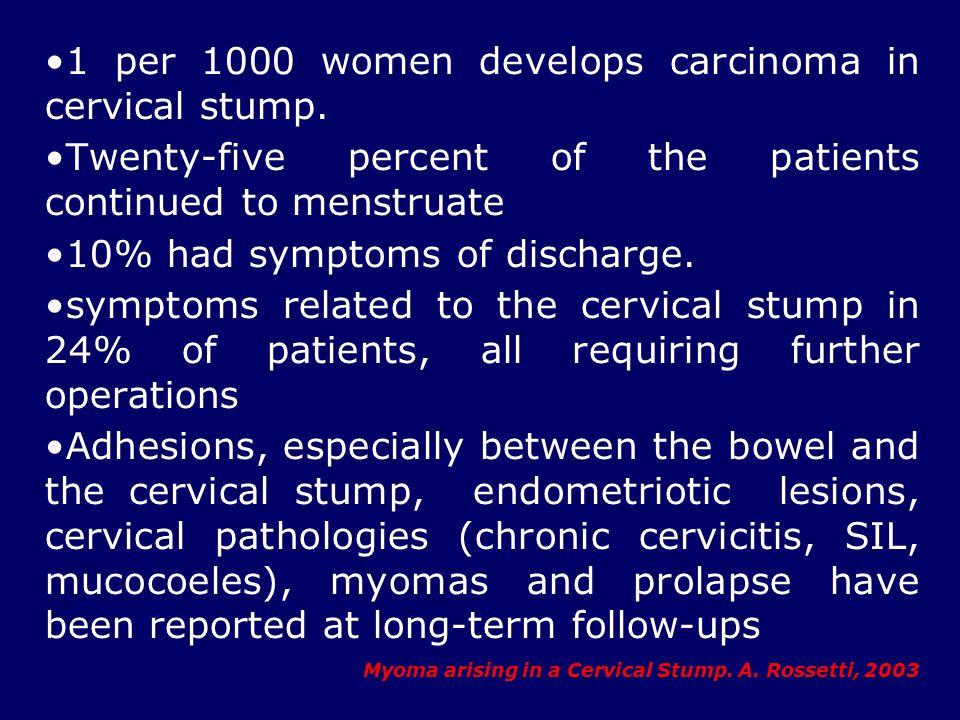 1 per 1000 women develops carcinoma in cervical stump.