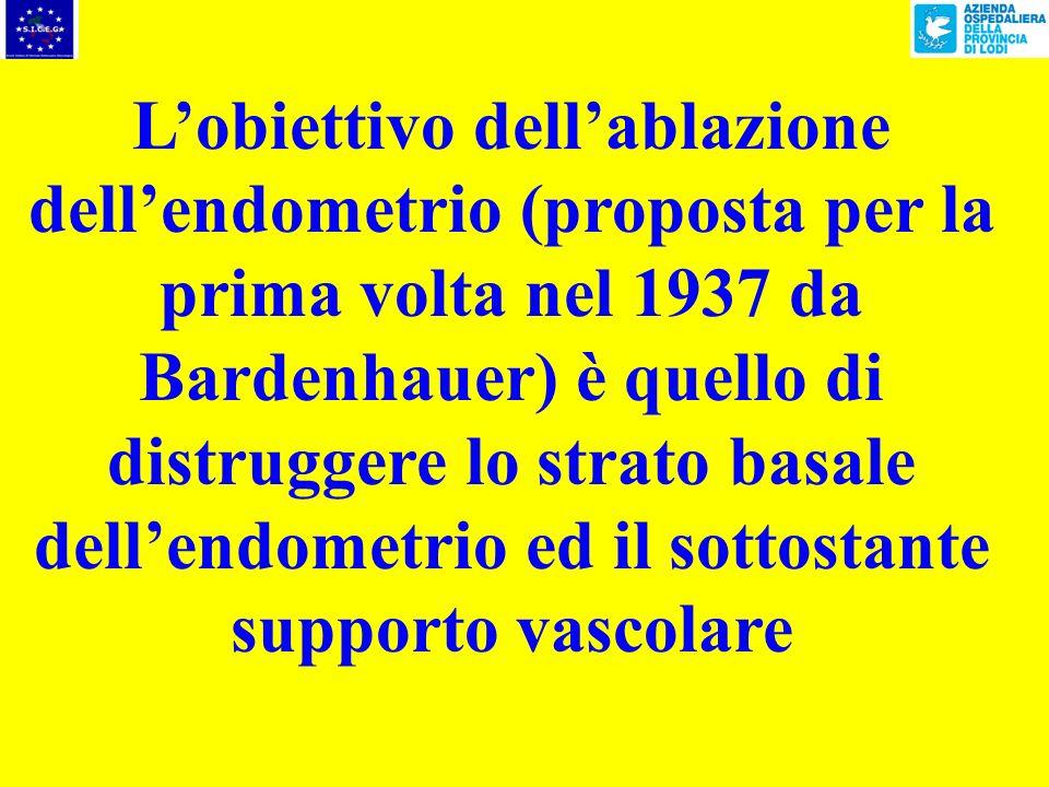 L'obiettivo dell'ablazione dell'endometrio (proposta per la prima volta nel 1937 da Bardenhauer) è quello di distruggere lo strato basale dell'endometrio ed il sottostante supporto vascolare