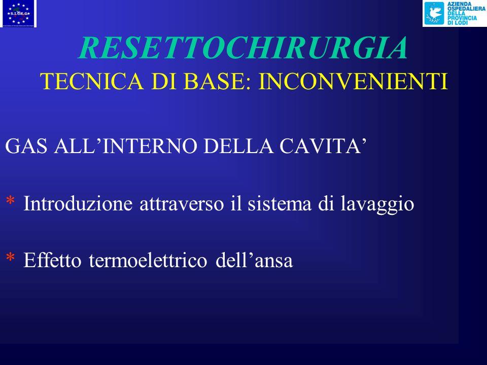 RESETTOCHIRURGIA TECNICA DI BASE: INCONVENIENTI