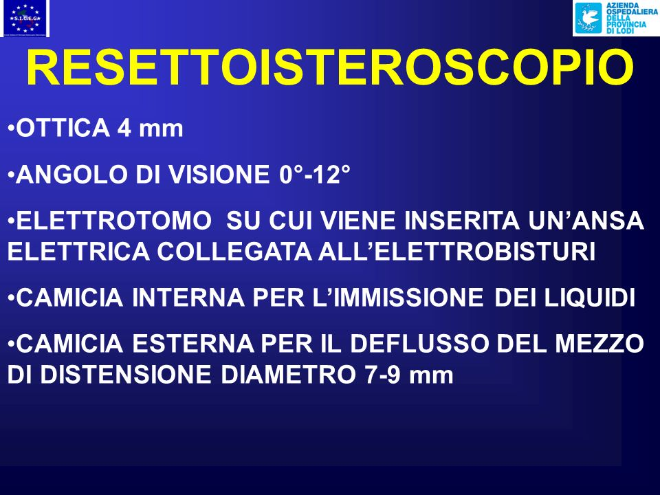 RESETTOISTEROSCOPIO OTTICA 4 mm ANGOLO DI VISIONE 0°-12°
