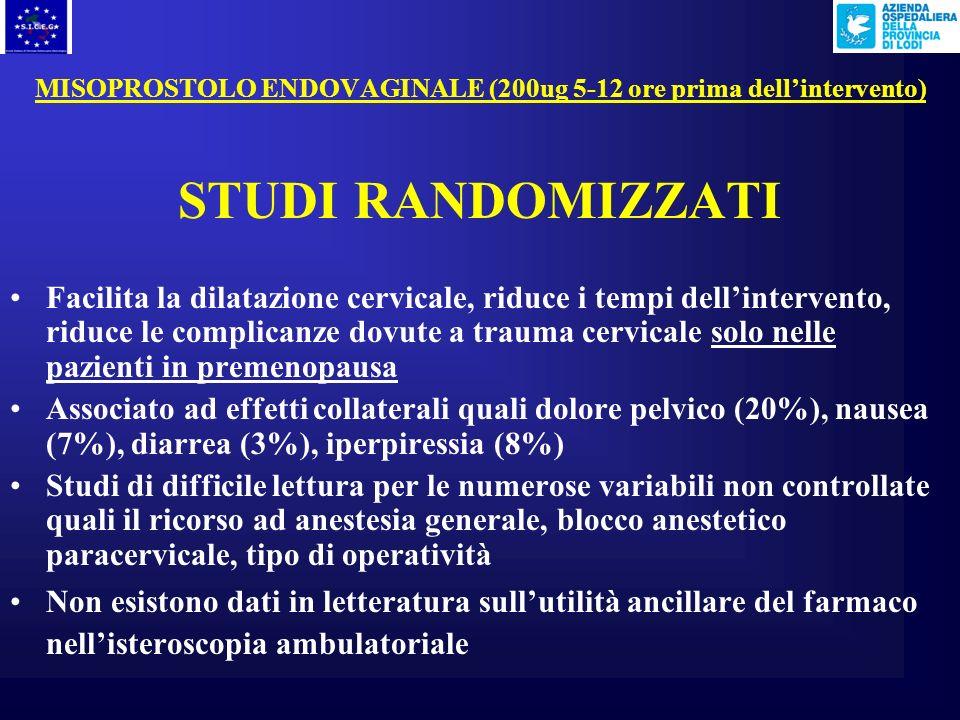 MISOPROSTOLO ENDOVAGINALE (200ug 5-12 ore prima dell'intervento)
