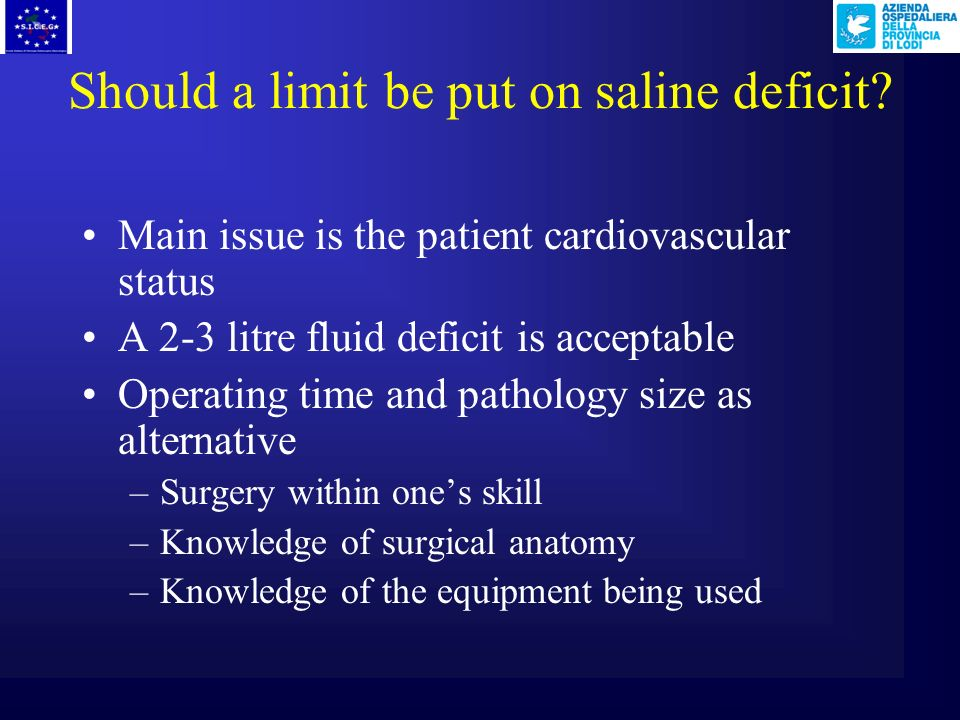 Should a limit be put on saline deficit