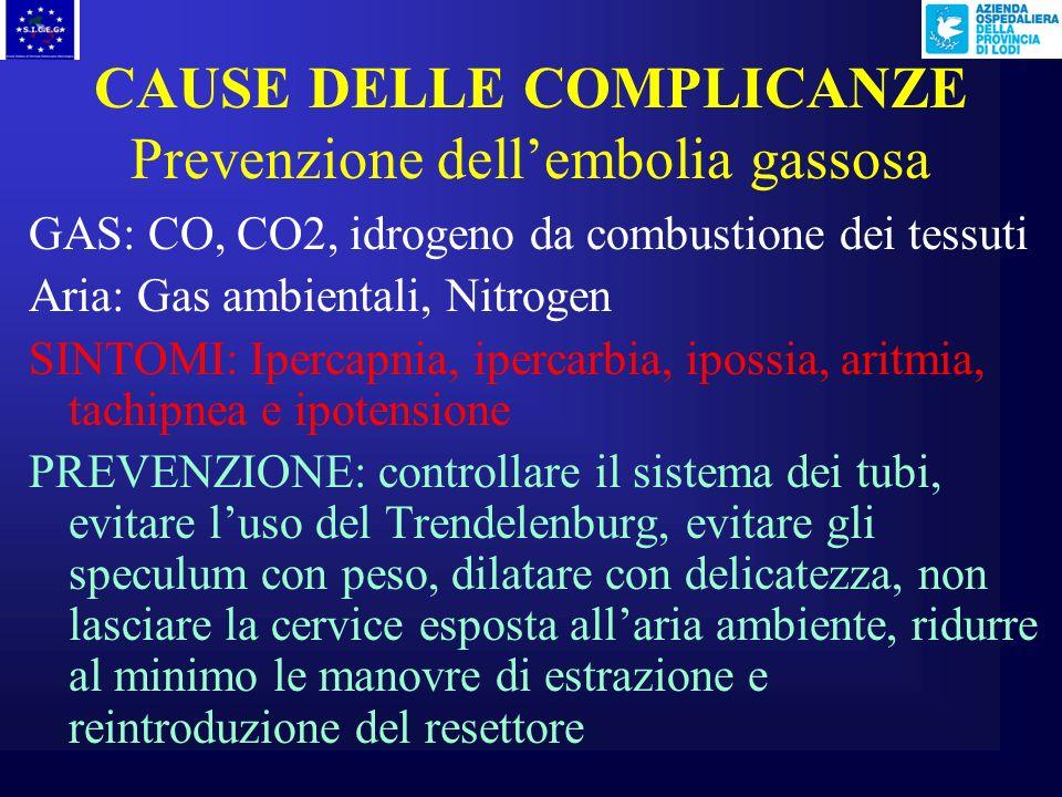 CAUSE DELLE COMPLICANZE Prevenzione dell'embolia gassosa