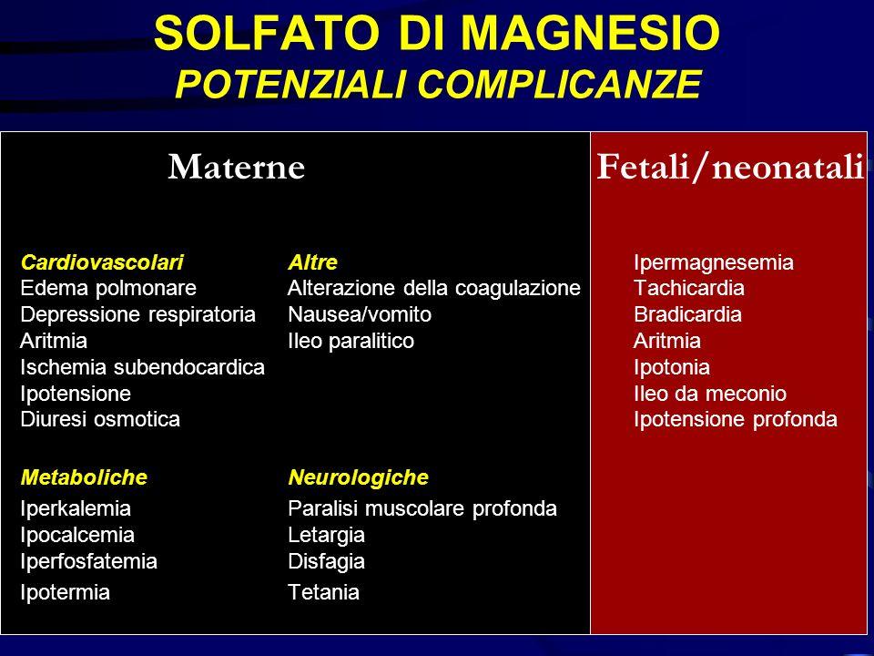 SOLFATO DI MAGNESIO POTENZIALI COMPLICANZE