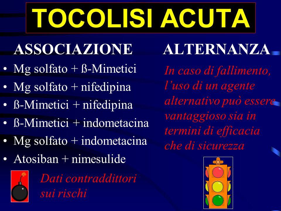 TOCOLISI ACUTA ASSOCIAZIONE ALTERNANZA Mg solfato + ß-Mimetici