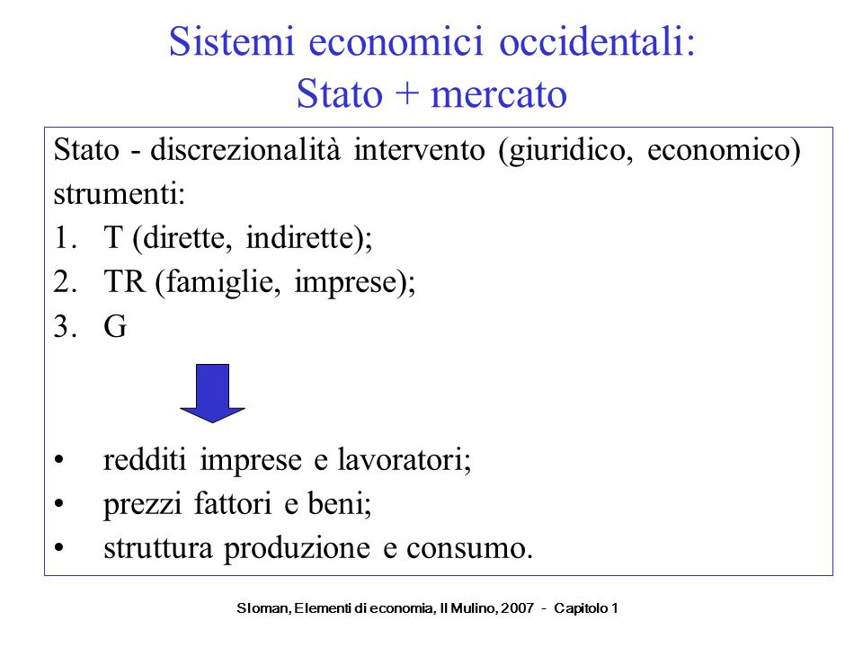 Sistemi economici occidentali: Stato + mercato