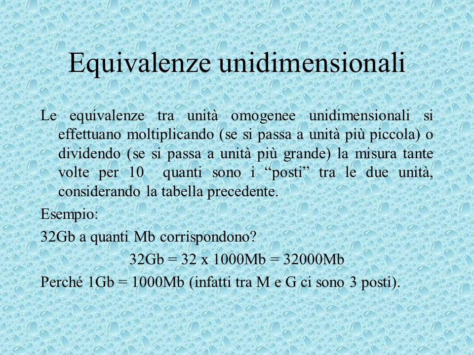 Equivalenze unidimensionali