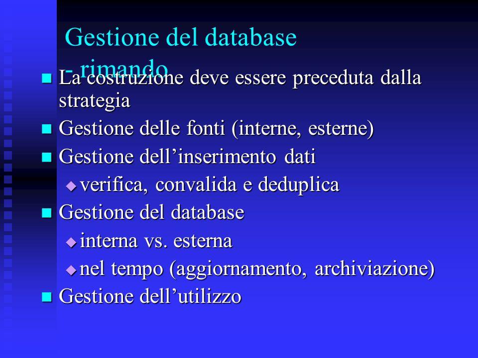 Gestione del database - rimando