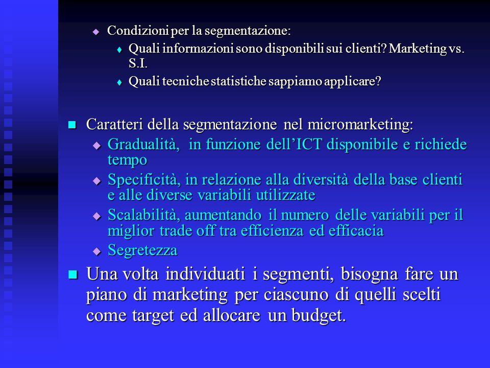 Condizioni per la segmentazione: