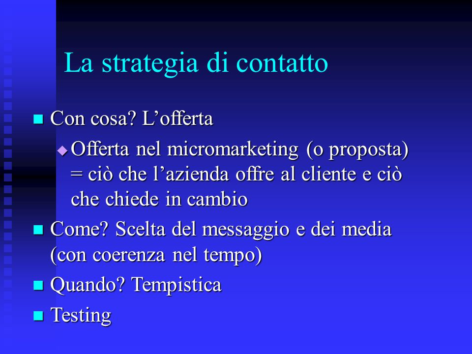 La strategia di contatto