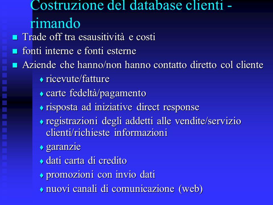 Costruzione del database clienti - rimando