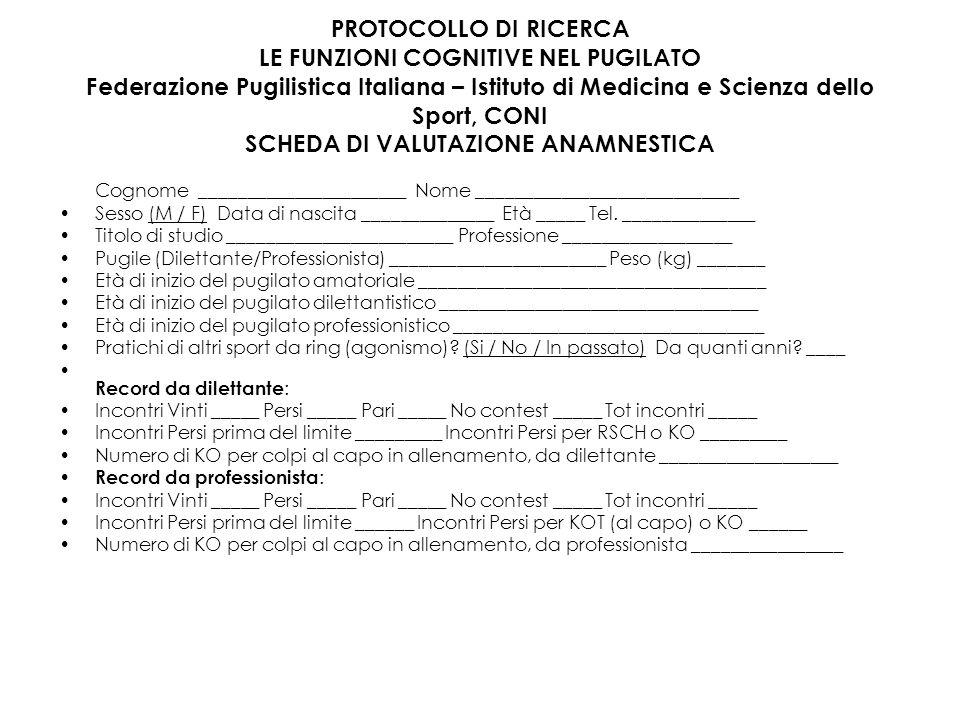PROTOCOLLO DI RICERCA LE FUNZIONI COGNITIVE NEL PUGILATO Federazione Pugilistica Italiana – Istituto di Medicina e Scienza dello Sport, CONI SCHEDA DI VALUTAZIONE ANAMNESTICA