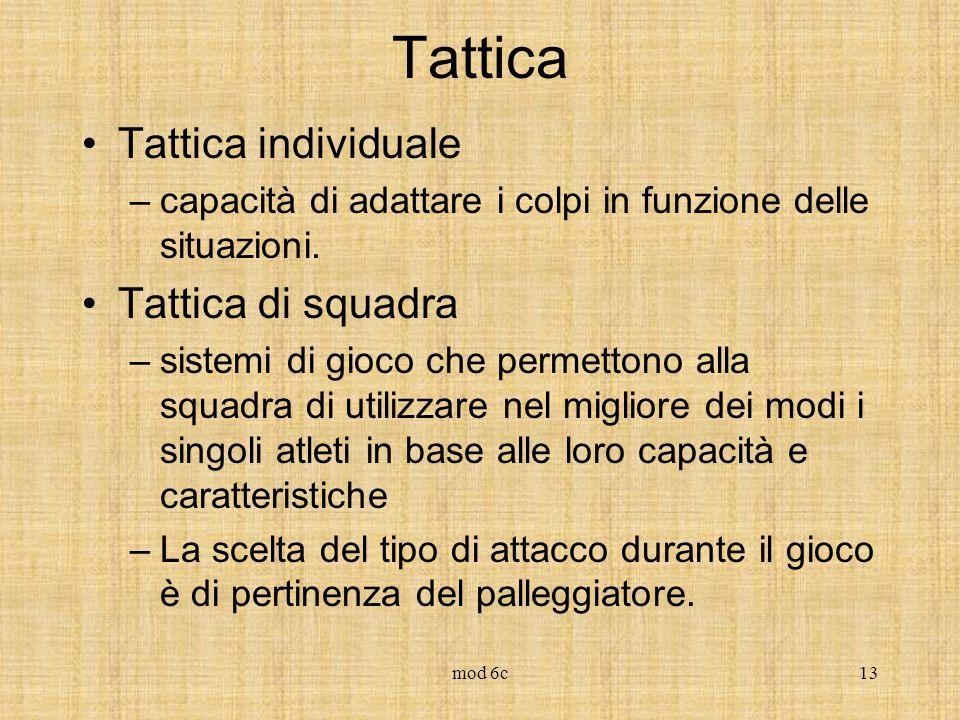 Tattica Tattica individuale Tattica di squadra
