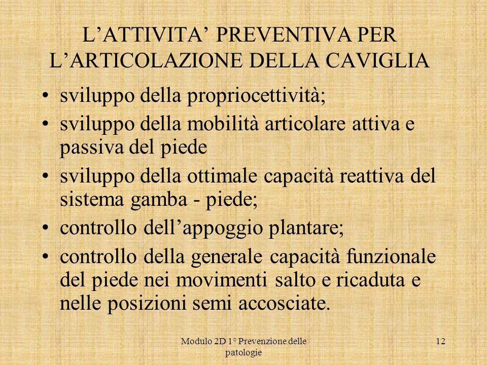 L'ATTIVITA' PREVENTIVA PER L'ARTICOLAZIONE DELLA CAVIGLIA
