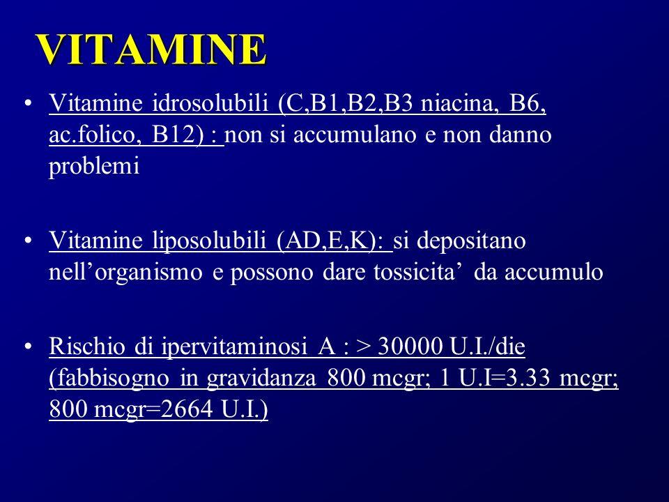 VITAMINE Vitamine idrosolubili (C,B1,B2,B3 niacina, B6, ac.folico, B12) : non si accumulano e non danno problemi.