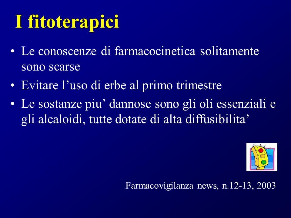 I fitoterapici Le conoscenze di farmacocinetica solitamente sono scarse. Evitare l'uso di erbe al primo trimestre.