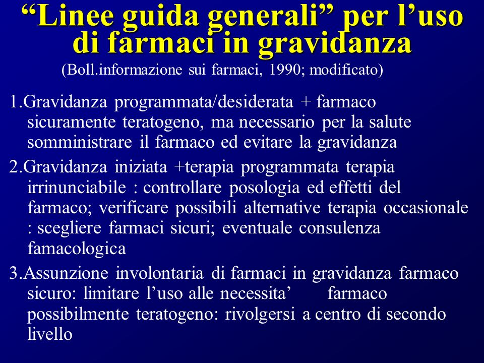 Linee guida generali per l'uso di farmaci in gravidanza