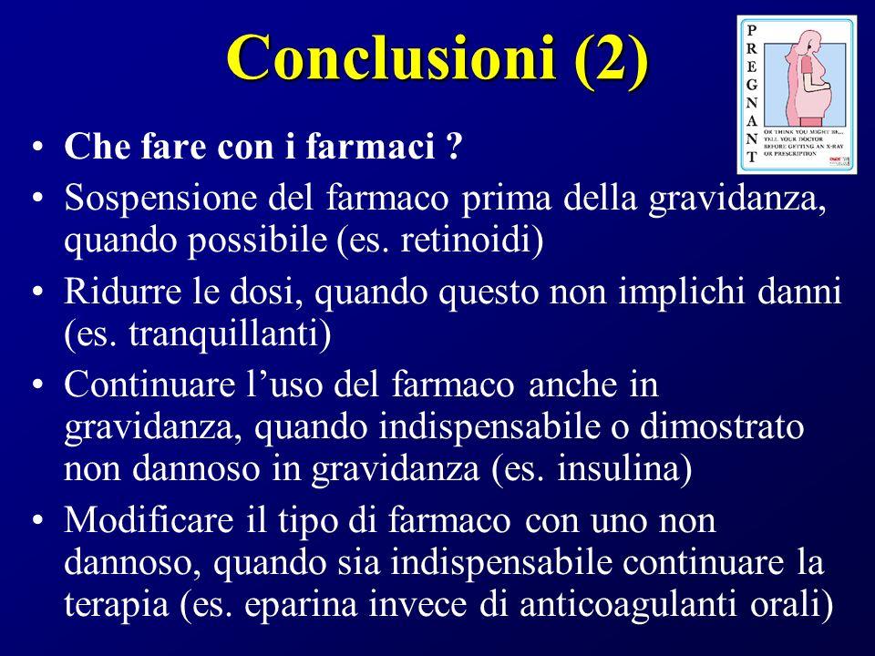 Conclusioni (2) Che fare con i farmaci