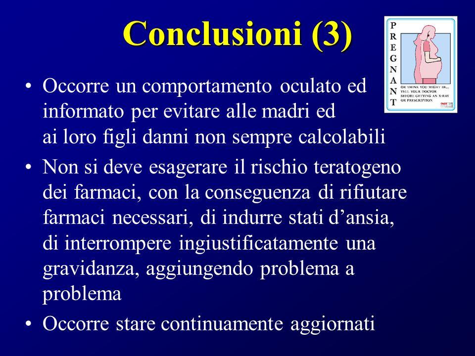 Conclusioni (3) Occorre un comportamento oculato ed informato per evitare alle madri ed ai loro figli danni non sempre calcolabili.