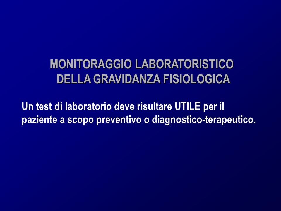 MONITORAGGIO LABORATORISTICO DELLA GRAVIDANZA FISIOLOGICA