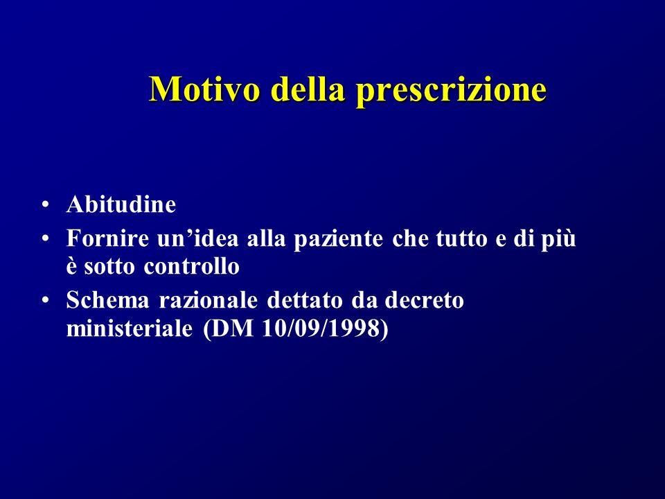 Motivo della prescrizione