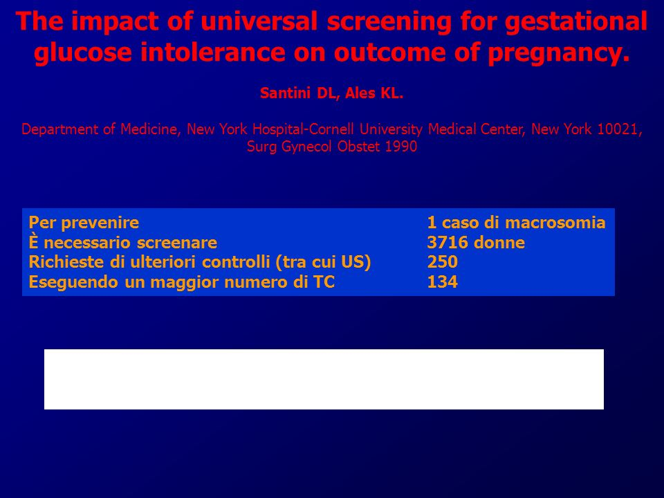 The impact of universal screening for gestational glucose intolerance on outcome of pregnancy. Santini DL, Ales KL. Department of Medicine, New York Hospital-Cornell University Medical Center, New York 10021, Surg Gynecol Obstet 1990